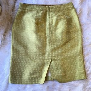 J. Crew Metallic Gold Pistachio Green Pencil Skirt